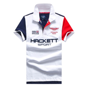 Mondial Angleterre Mode Hommes Hackett Polos Aston Martin HKT Sport Racing Polos GB London Brit Tees Shirt Blanc Rouge