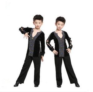 Dance Competition Kid Preto Professional Ballroom Latina Salsa Costume T Shirt Top Body de Ginástica para o menino Dança Vestuário Roupas