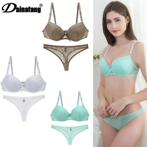 New 2020 Lace Embroider Bars Set Womens Plus Size Push Up Underwear Bra and Panty Lingerie 32 34 36 38 ABC Cup For Lady