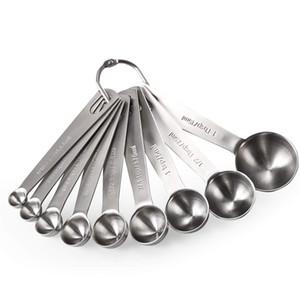 Métal de mesure en acier inoxydable Cuiller cuillère mesure cuillère Set de 9 sec et pour les ingrédients liquides dans un pot à épices Fits