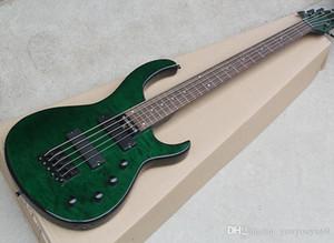 Yeşil 5 Bas Elektro Gitar Telleri Gülağacı Kol, Siyah Donanım, Alev Bej Kaplama, özelleştirilmiş hizmetler sunan
