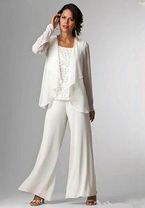 Gelin Suits Artı boyutu Pantolon Gelin Modelleri törenlerinde arasında Scoop Boyun çizgisi Uzun Kollu Ruffles Üç adet Anne Yeni Şifon Anneleri