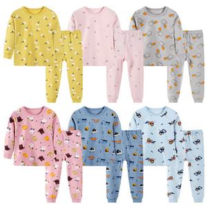 Trajes niños pijamas de dibujos animados dinosaurio 8 Estilo del niño que Placket ropa de dormir de ropa para niños niñas adolescentes floral del camisón pijamas 060227