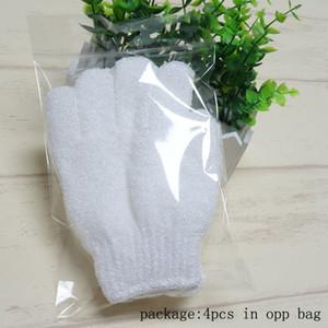 Белый нейлон тела Очистка Душ Перчатки Exfoliating Ванна перчатки Пять пальцев ванной ванны перчатки дома и сада ju0494