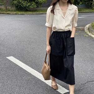Blusa de 2020 nueva camisa de la margarita de la vendimia floral HXJJP verano de las mujeres camisa del juego de cuello de manga Puff Mujeres