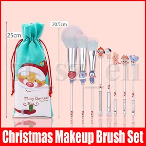 Noel Hediye Taşınabilir 8pcs / set Makyaj Fırça Kardan Adam Asma Desen süslemeler Renkli Festivali Noel Süsler Bursh Set olun