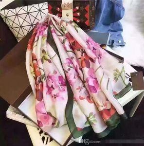 Fashion high qualit Brand Women Silk Scarf Summer Designer Flower Long Scarf Label 180x90Cm Shawl Silk Letter Scarves