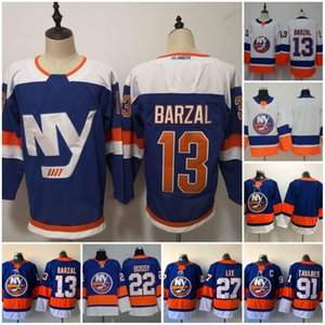 New York Islanders Hockey 13 Mathew Barzal 27 Anders Lee Jersey 22 Mike Bossy # 91 John Tavares Bleu Blanc Autre Breakaway Jersey