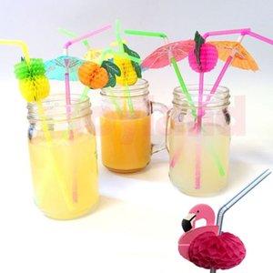 Pajas de beber de coctel barato plástico paja Paraguas Paraguas de fruta de plástico mixto Agitadores Bar Pub Decoraciones del partido