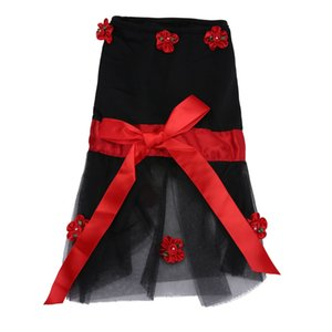 2020 Explosion Models Black Bowknot Small Flower Pet Skirt Dog Spring and Summer Apron Pet Dog Clothes Pet Clothing Different Sizes