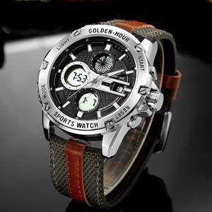 GOLDENHOUR impermeável Sport Relógios Men Nylon Strap Digital Quartz Analog Watch Relógio Relógios Masculinos