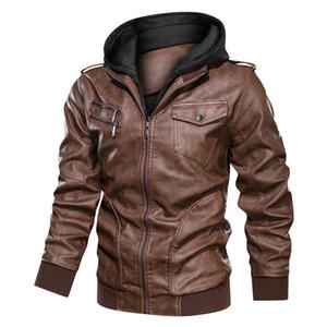 Dropshipping NEGIZBER nuova marca Faux Leather Jacket Men doppio colletto con cappuccio Zipper Leather Jacket Moda Uomo Moto Jacktes