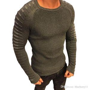 Sonbahar Erkekler Rasgele Sewater Fit Örgü Uzun Kollu Patchwork Pileli Kazak Erkek Elastik Katı İnce Seksi Kış Kazak Giyim M-3XL