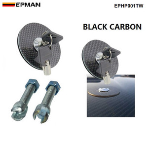 EPMAN (BLACK Carbon Fiber) Flush Mount Hood Lock w  Key Variable Mount Fit for Most Cars EPHP001TW