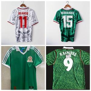 레트로 클래식 멕시코 1994 1998 1986 축구 유니폼 헤르 난 데스 리온의 내전 BLANCO H.SANCHEZ (86) (94) (98) 집에 떨어져 레트로 축구 셔츠 S-2XL