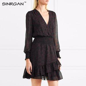 SINRGAN Elegante con cuello en v Elegante sexy vestidos de club vestidos mujer Delgado de manga larga vestido de verano de gasa A-line vestido vintage