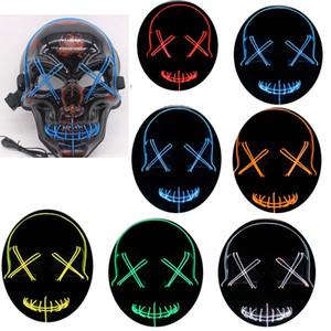 Llevó cráneo de la máscara de Halloween Light Up Fantasía Scary máscara para adulto Fiesta Kids Mask 10 colores WX9-1595