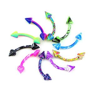 10 ADET / Lot Aiovlo Çok renkli Renkler Paslanmaz Çelik Gövde Takı Helix Piercing Kulak Kaş Burun Dudak Esir Halkalar Ücretsiz Kargo