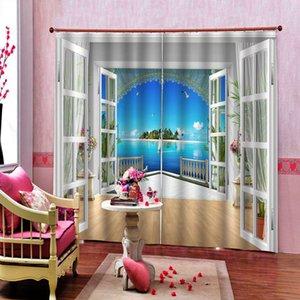 Красивый пейзаж оконная занавеска за окном Чистая вода голубое небо Солнечный остров для гостиной спальни плотные оконные шторы