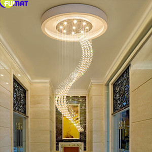 FUMAT LED Chandelier Lighting GU10 Modern Pendant Ceiling Lamp K9 Crystal Luminaria Suspension Hanging Lighting Fixture Lights
