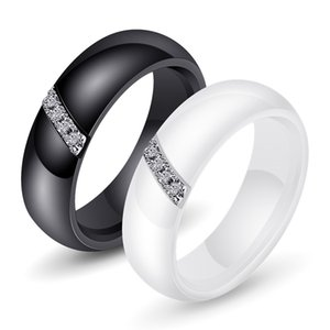 Black and White Two-color Minimalist Nano-ceramic Ring, Artificial Gem Micro-set Women's High-end Ring