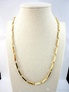 22.06 inch Bamboo New Gold Stainless Steel Chain 56Cm Diameter 3.8mm Never fade Necklaces For Women Fashion Jewelry LR528