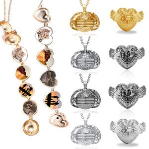 Sıcak Satış Çok Katlı katlanabilen Fotoğraf Locket kolye Gümüş Altın Açı Wings Style Yuvarlak Aşk Kalp Kolye Takı Hediyeler
