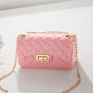 pembe Bayanlar çanta Diamond model kadın Messenger Bolsas Yaz kadınlar plaj çantası PVC jöle çantası küçük flep Sling