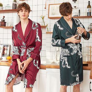 Golesun. Fs Fashion Men's Spring and Summer Bathrobe Silk Men's Long Pajamas Nightgown Leisure Tops Wp1077 Mens Robes Long