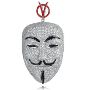 Hip Hop V per Vendetta Collana Ciondolo maschera zircone cubico color argento per uomo Ice Out Tennis Chain Rapper Jewelry