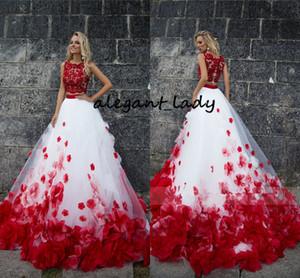 3D Çiçek Bohemia Beyaz Kırmızı Dantel Tank Gelinlik Plaj İki Adet Sahil Gelinlikler Vestido De Noiva Buttom Romantik