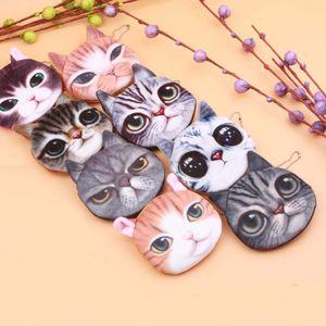 Kedi / Köpek Yüz Fermuar Vaka Çocuk Madeni Para Çanta Lady Sevimli Cüzdan Kılıfı Kadınlar Kız Makyaj Buggy Bag baskı 20 Stiller Yeni 3D