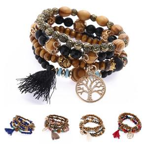 Bohemian Beads de madeira Árvore de vida Charms Pulseira Pulseira Mulheres Borla Pena Etnica Elastic Braceletes Pulseira Jóias DLH416
