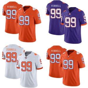 Мужчины Молодежная Леди # 99 Clelin Ferrell Clemson Tigers College Футбольные майки Оранжевый Белый Фиолетовый Бесплатная Доставка