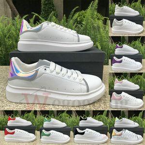 El nuevo cuero de pisos de lujo de diseño de plataforma única de terciopelo reflectante 3M blanco al aire libre de la moda vestido de fiesta diaria zapatillas de deporte de los zapatos de los hombres de las mujeres de la marca