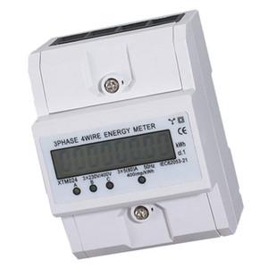 Freeshipping 3x5 LCD (80A) Energia Medidor elétrico KWH triphasé DIN Rail Mount