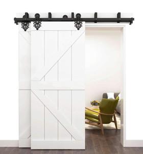 2 도어 바이 패스 로얄 패턴 블랙 스틸 슬라이딩 헛간 도어 하드웨어 DOUBLE Closet Door 인테리어 도어 롤링 트랙 세트 키트