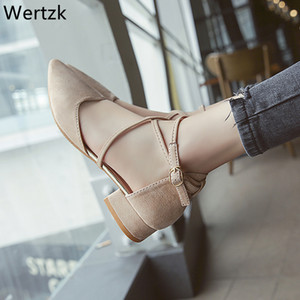 Wertzk 2019  New Beige Black Low to help single shoes Handmade shoes pointed toes Fashion shallow-mouthed ribbon F035