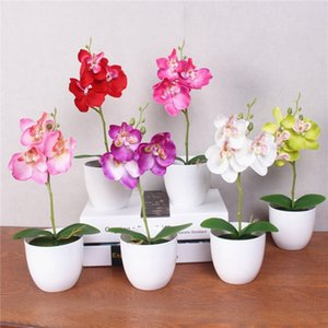 1 Set Phalaenopsis Simulation Flower Potted Artificial Orchid Flower + Foam Leaf +plastic Vase Home Decor Bonsai Gift