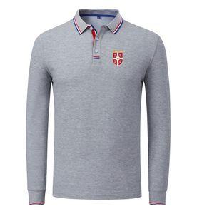 serbien 2020 Frühling und Herbst der neuen Baumwoll Fußball-Poloshirt Männer Langarmshirt Revers Solid Color Polo Can DIY fertigen Männer Polo