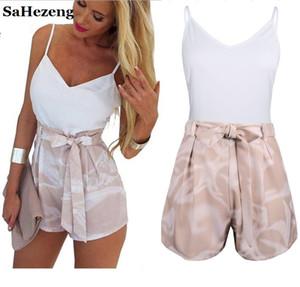 SaHezeng 2 Stück Frauen Outfits Sets 2017 Sommer-reizvolle weiße Tank-Tops und Schärpen Bow Tie Shorts Satz-beiläufige Damen A024-8