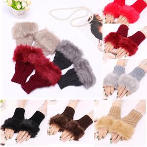 DHL Free Women Girl Knitted Faux Fur gloves Winter 14 mm Length Outdrowardless Fingerless Gloves