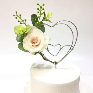 Love Heart Cake Toppers Украшение венок с цветком С Днем Святого Валентина украшения для вечеринки для выпечки Ins Lovely подарки