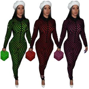 Luxury Design Женщины Комбинезоны ЧАН с длинным рукавом молния Rompers весна Цельный Bodysuit отложным Коллора Комбинезон Bodycon нарядах Streetwear