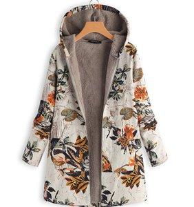 Espessamento e proteção ambiental Cotton-linen Coats Grande M-5XL Revestimento de algodão Middle-aged e Old Women's elegante Ind