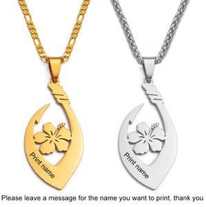 Anniyo con nome / Chuuk Fiore collane Micronesia Personalizzare lettere hawaiana Gioielleria Oro Colore Colore / argento # 127.121