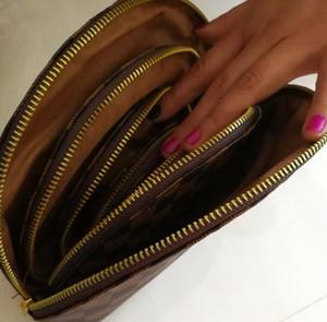 Klasik tasarımcı Zip Cep Cüzdan 4PCS Marka kozmetik çantası erkekler kadınlar moda Açık seyahat çantası deri çanta Sıfır para çantası