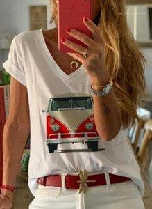 Transpirable más el tamaño de diseñador del verano de manga corta Mujer Ropa Impreso cuello en V para mujer de la moda de Nueva camisetas