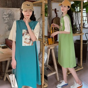 079# Maternity Clothes Summer Cotton Short Sleeve Loose Stylish Dress for Pregnant Women Pregnancy Clothes