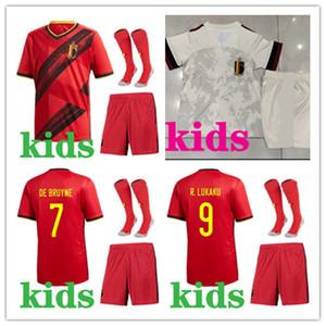 Çocuk futbol takımları 2020 Avrupa Kupası Belçika Soccer Jersey Çocuklar 20/21 # 9 Lukaku # 10 E.hazard # 7 de Bruyne Futbol Gömlek